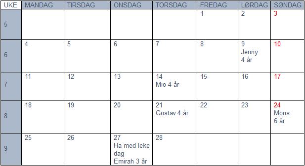 Plan for februar 2019