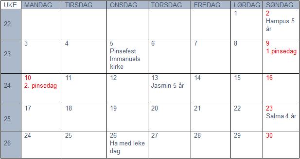 Plan for juni 2019