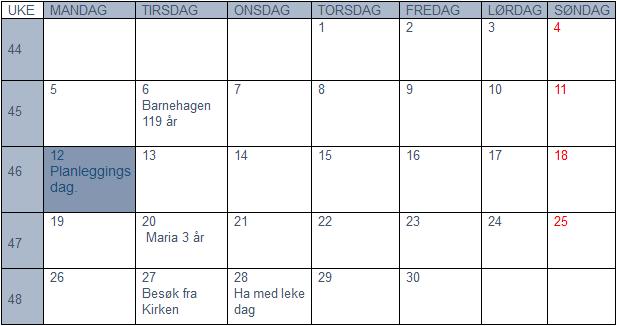 Plan for november 2018